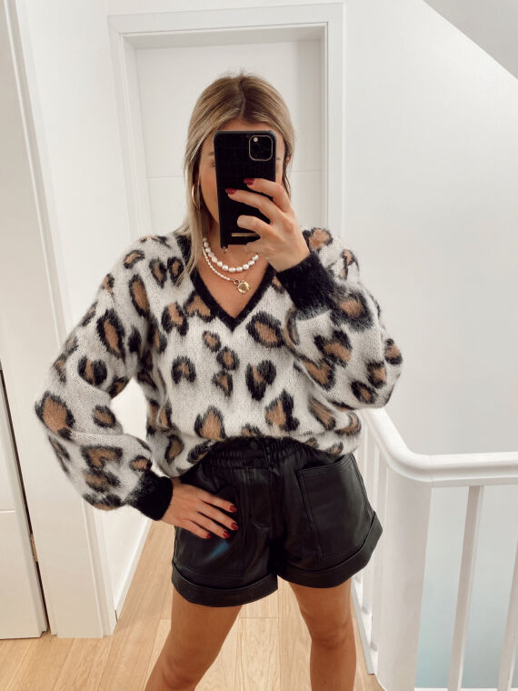 Pull en maille leopard MANLY beige
