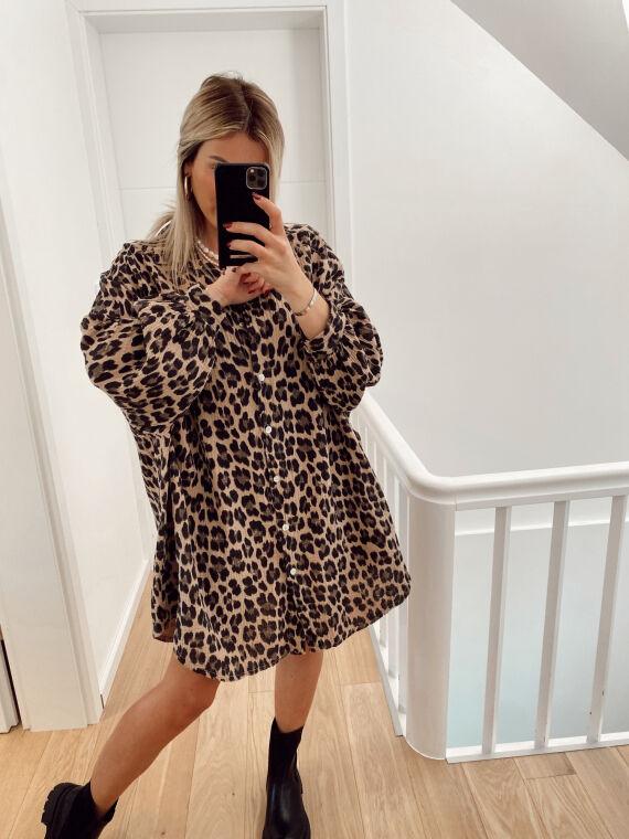Robe chemise en gaze de coton leopard CLOVELY camel