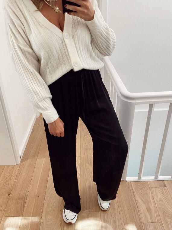 Wide-leg satin trousers NARDO in black