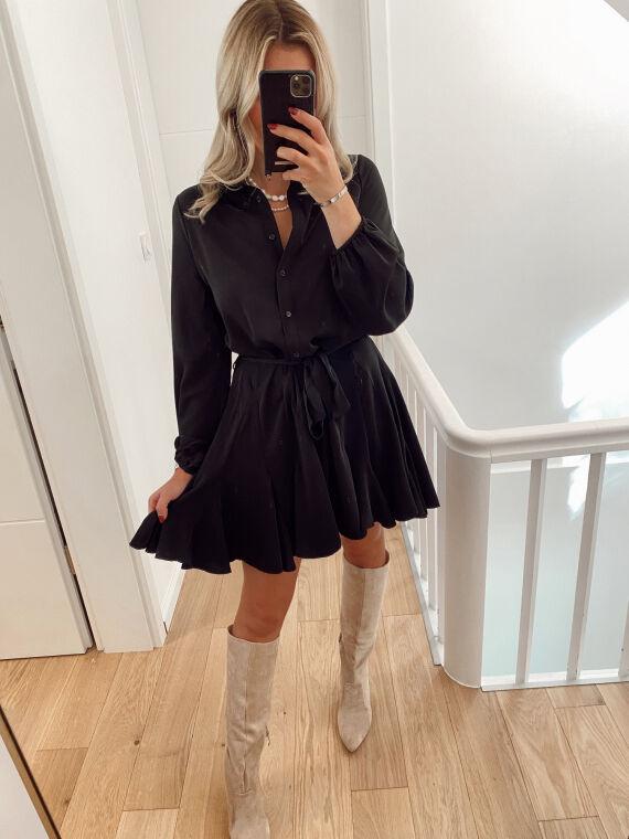 Robe chemise patineuse BADIOLE noir