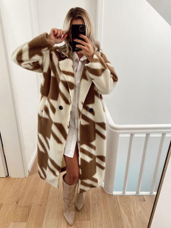 Manteau long motif pied de poule géant MAUZ camel