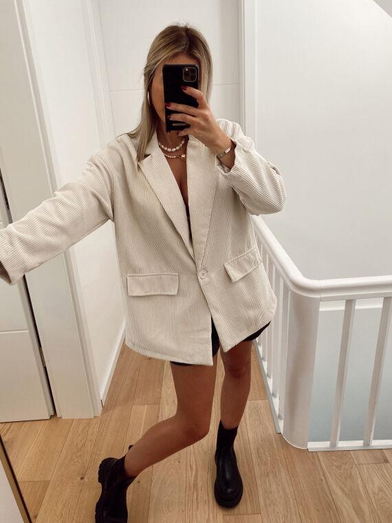 Corduroy blazer jacket OLANI in beige