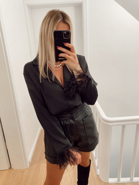 Feathered satin shirt OMBRE in black