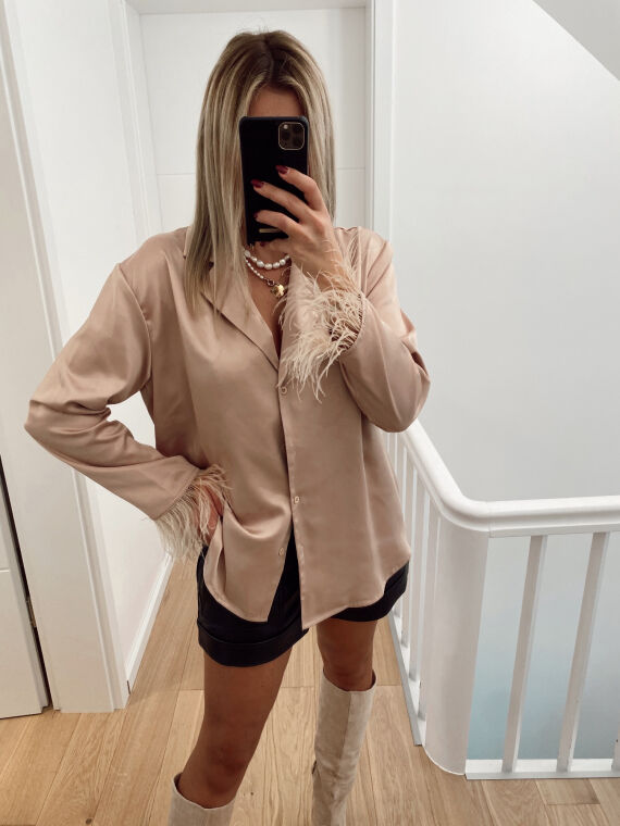Feathered satin shirt OMBRE in beige