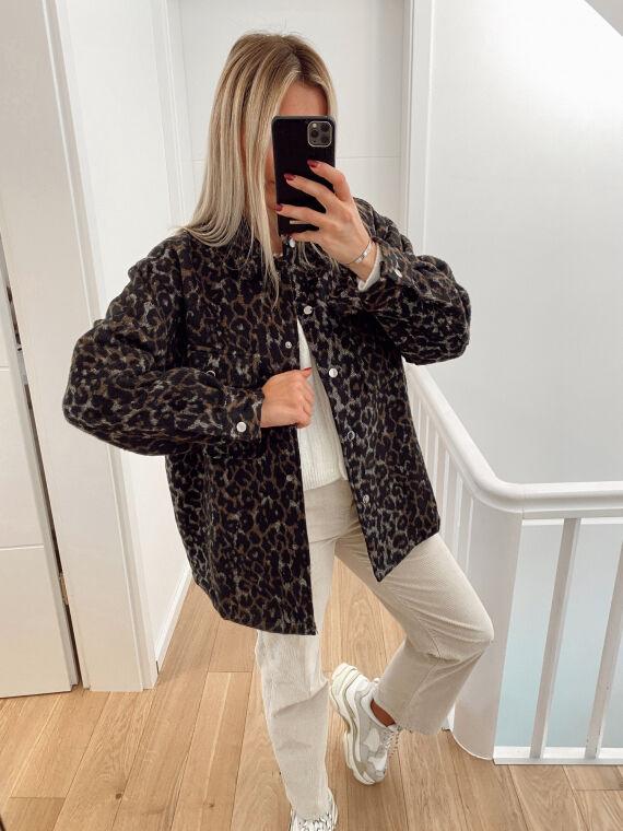 Veste léopard en laine feutrée CINQUO noire