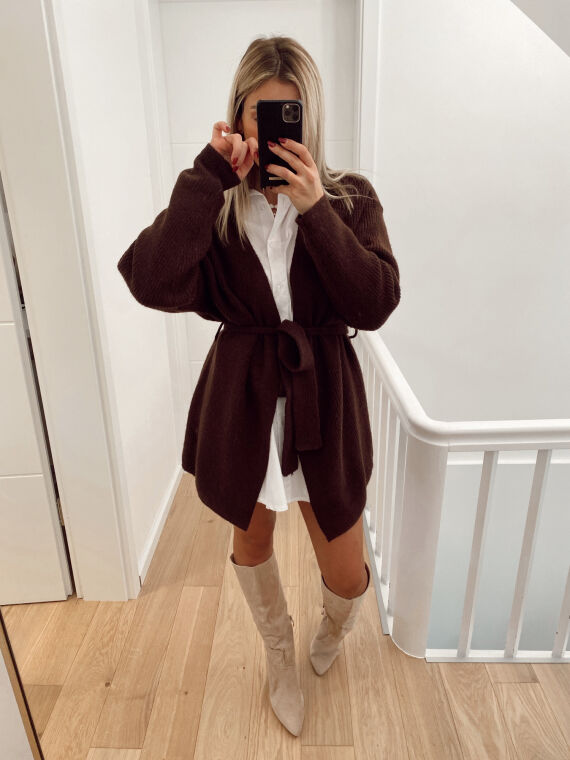 Mid-length cardigan with tie SOL in chocolate