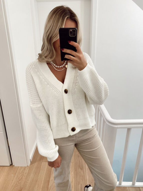 Knitted cardigan with buttons ELOISE in ecru
