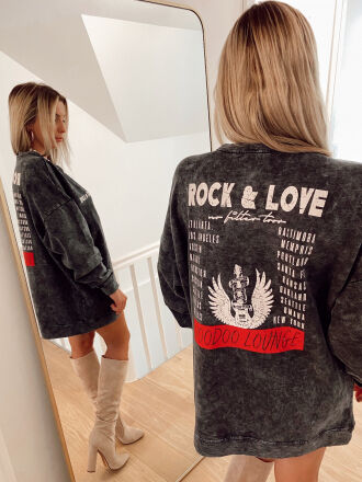 Sweat oversize ROCK&LOVE gris délavé
