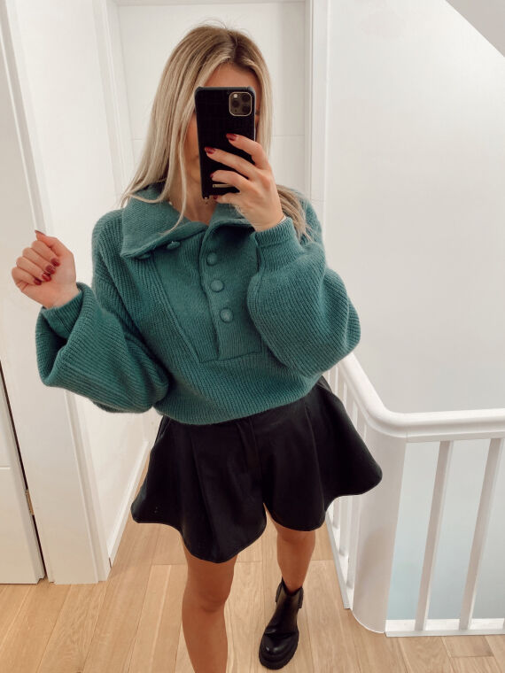 High neck jumper with buttons ENEA in green