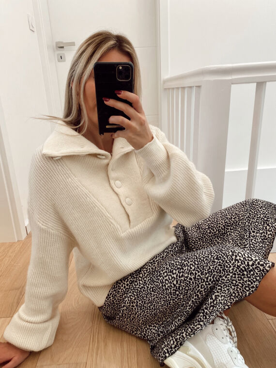 High neck jumper with buttons ENEA in beige