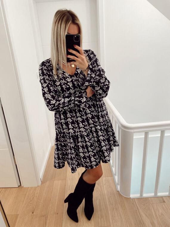 Patterned dress WYLA in black