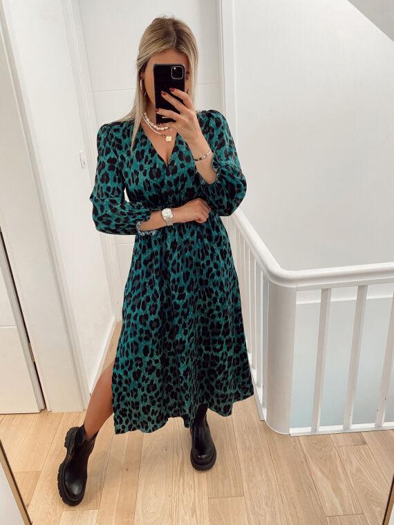 Leopard satin maxi dress MEMONE in green