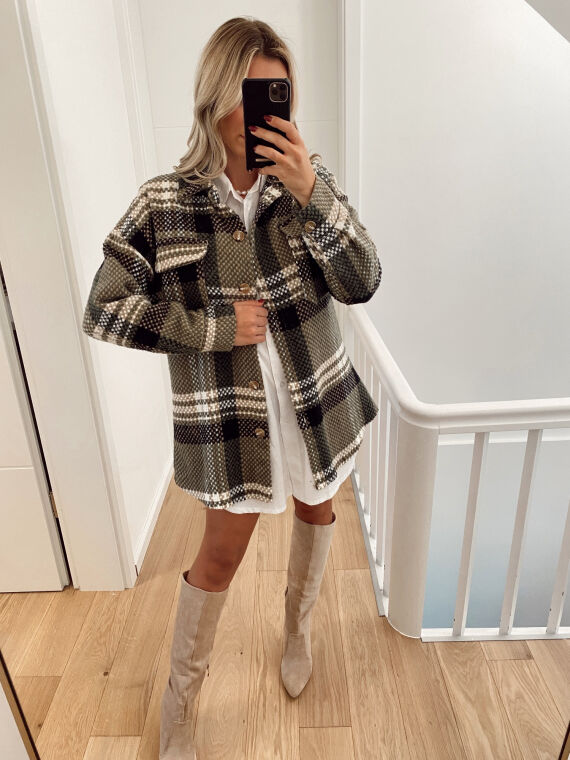 Over shirt with checks GRISOU in khaki