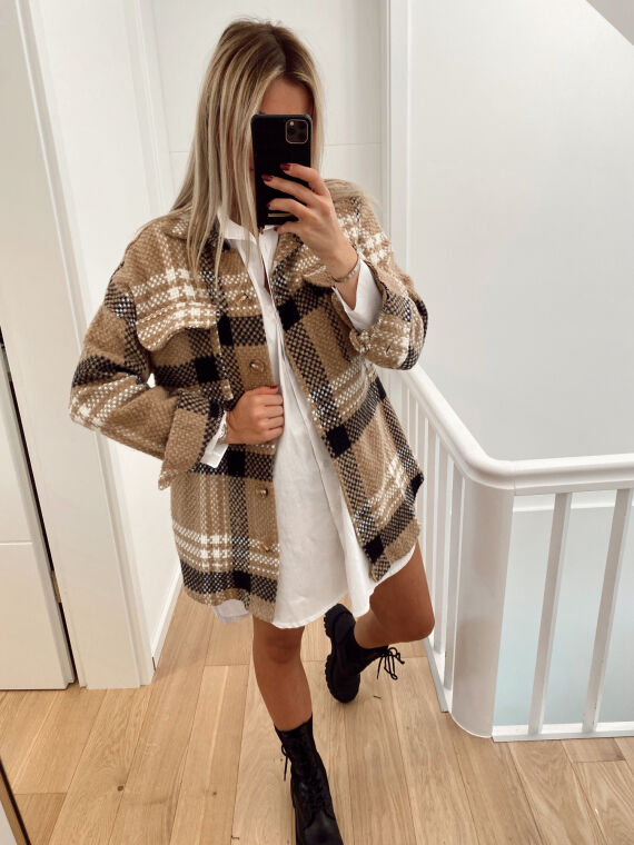Over shirt with checks GRISOU in beige